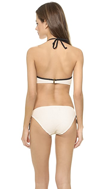 Shoshanna Natural Crochet Halter Bikini Top