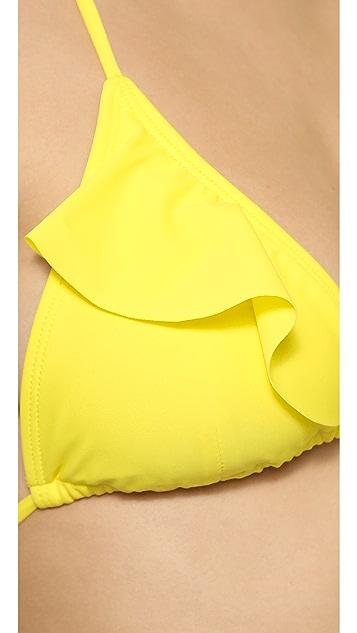 Shoshanna Lemon Ruffle Triangle Top