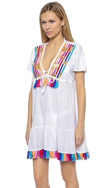 Shoshanna Rainbow Fringe Embellishment Peasant Dress