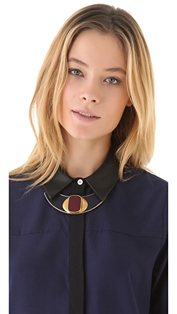 Sandy Hyun Deco Leather Bib Necklace