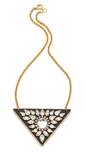 Sandy Hyun Crystal Triangle Pendant Necklace