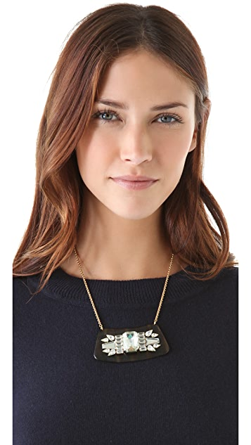 Sandy Hyun Tortoise & Crystal Mini Bib Necklace