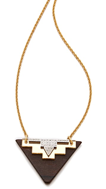 Sandy Hyun Deco Triangle Pendant Necklace
