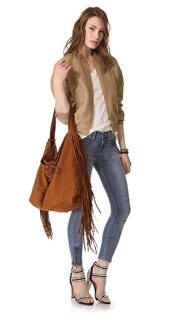 Simone Camille Crescent Nubuck Bag