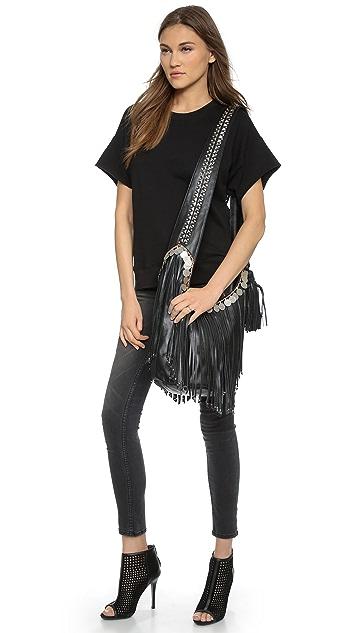 Simone Camille Studded Bucket Bag with Fringe