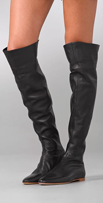 Sigerson Morrison Flat Over the Knee Boots with Zip Back