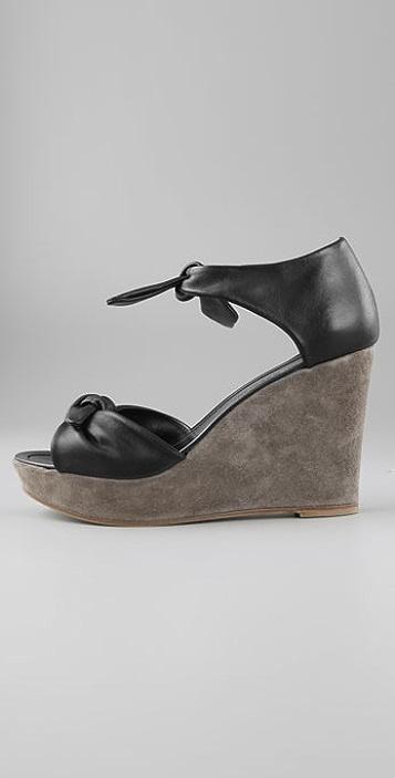 Sigerson Morrison Ankle Tie Wedge Sandals