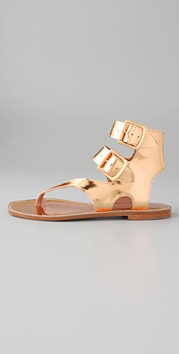 Sigerson Morrison Asymmetrical Thong Buckle Sandals