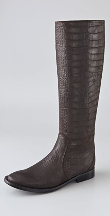 Sigerson Morrison Croc Embossed Flat Riding Boots