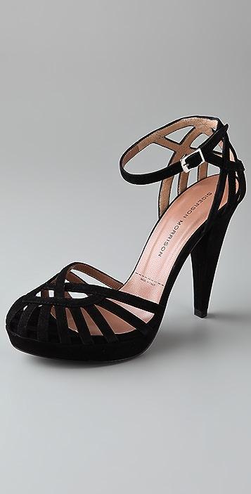 Sigerson Morrison Birdcage Suede Platform Sandals