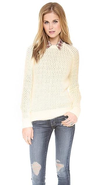 SHAE Open Stitch Fuzzy Sweater