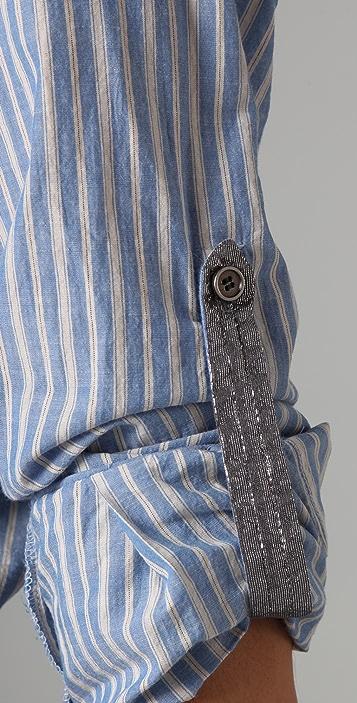 Son of John Simone Striped Button Down Blouse