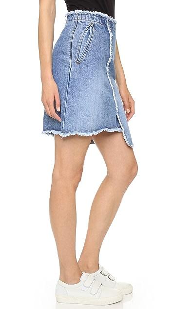 SJYP Unbalanced Denim Skirt