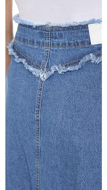 SJYP Denim Button Long Skirt