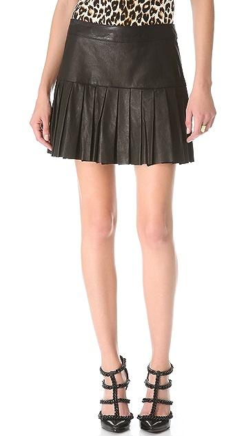 Skaist Taylor Pleated Leather Skirt