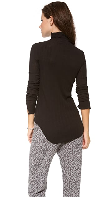 Skin Variegated Rib Turtleneck Top