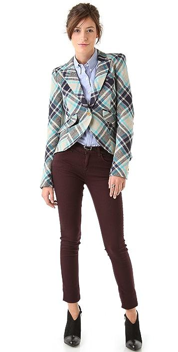 SMYTHE Plaid One Button Blazer
