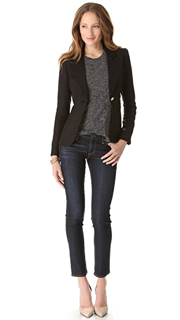 SMYTHE Button Blazer with Cutout Hem