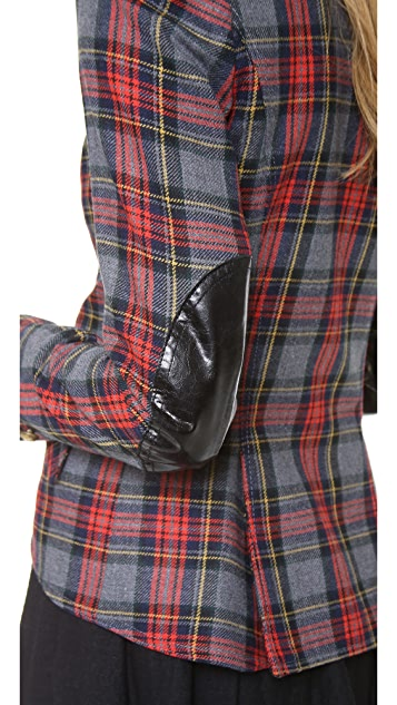 SMYTHE Tartan One Button Blazer
