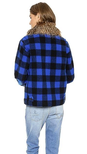 SMYTHE Barn Jacket with Detachable Faux Fur Collar