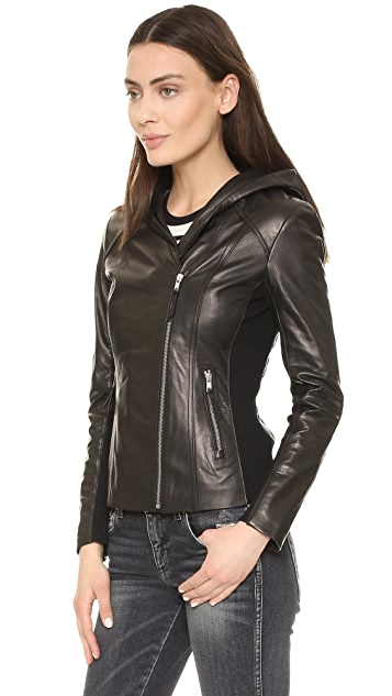 Soia & Kyo Beka Leather Hooded Jacket