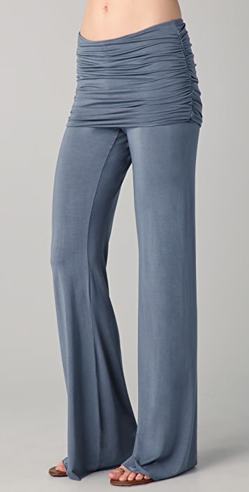 SOLOW Shirred Waist Wide Leg Pants