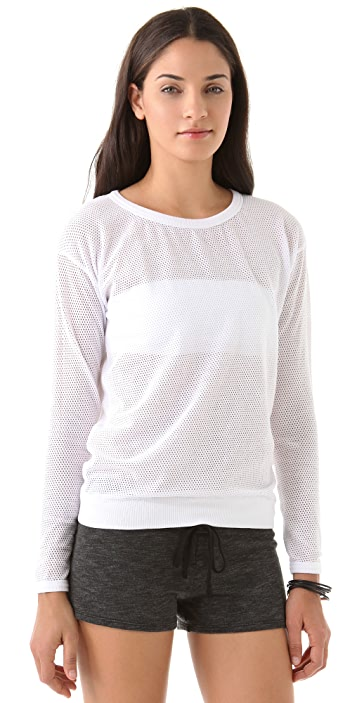 SOLOW Mesh Dolman Top