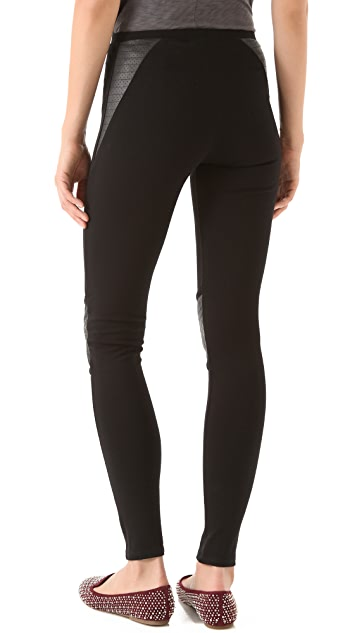 SOLOW Moto Leggings with Faux Leather Patches
