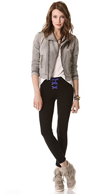SOLOW Contrast Lace Up Leggings