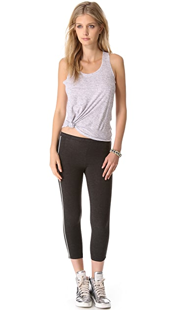 SOLOW Crop Pants with Contrast Piping