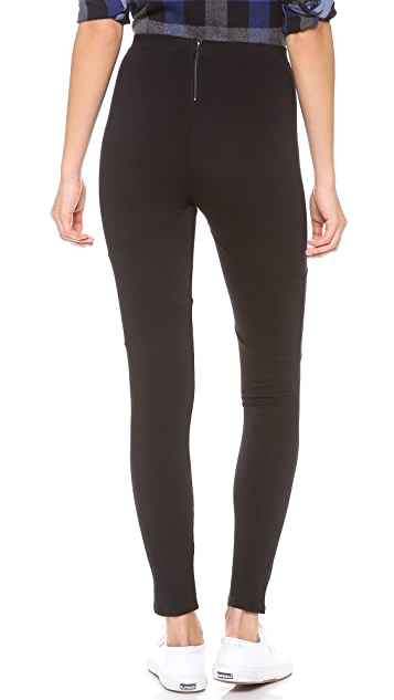 SOLOW High Waist Seamed Leggings with Back Zip