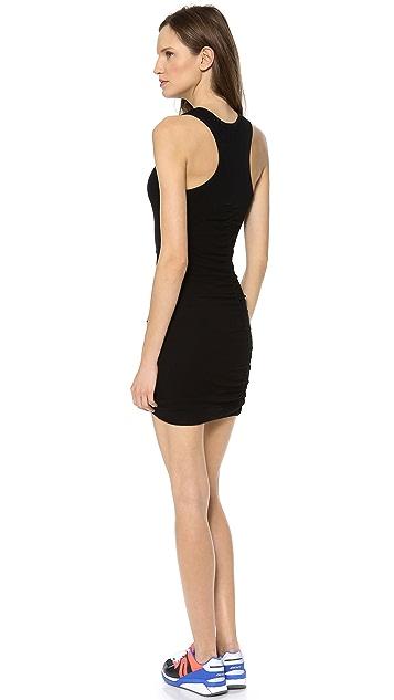 SOLOW Mini Mesh Dress with Shirred Seam