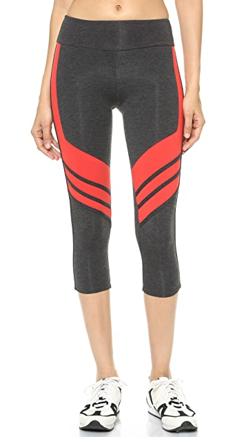 SOLOW Crop Leggings with Contrast Panels