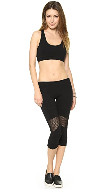 SOLOW Cropped Leggings with Mesh