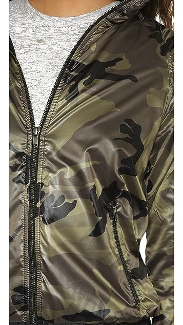 SOLOW Camo Printed Windbreaker Jacket