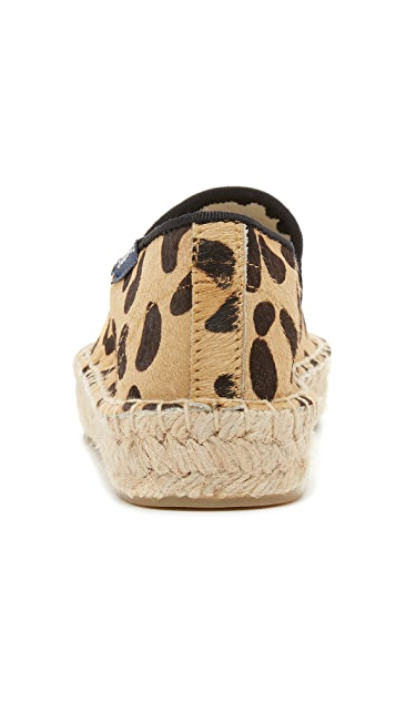 Soludos Haircalf Platform Smoking Slipper Espadrilles