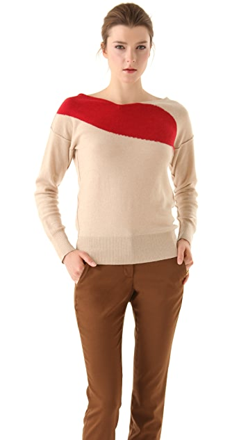 Sonia Rykiel Oatmeal Cashmere Sweater with Red Lips