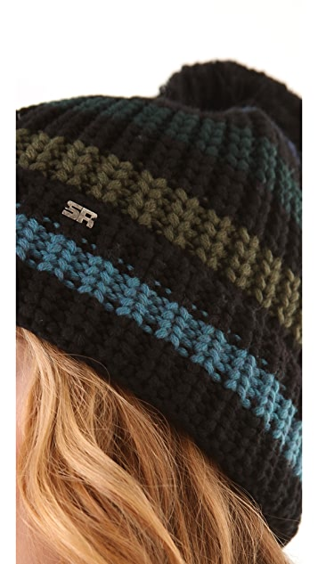 Sonia Rykiel Striped Pompom Hat