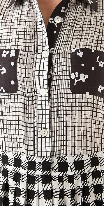 Sonia by Sonia Rykiel Check & Flower Dot Shirtdress