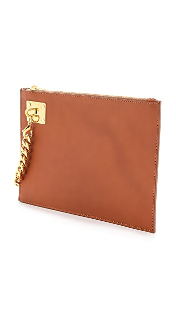 Sophie Hulme Large Zip Pouch with Chain