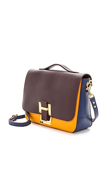 Sophie Hulme Medium Colorblocked Soft Flap Bag