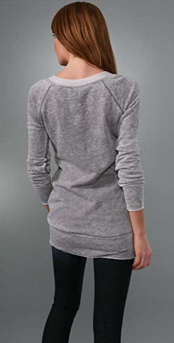 Splendid Distressed Fleece V Neck Tunic
