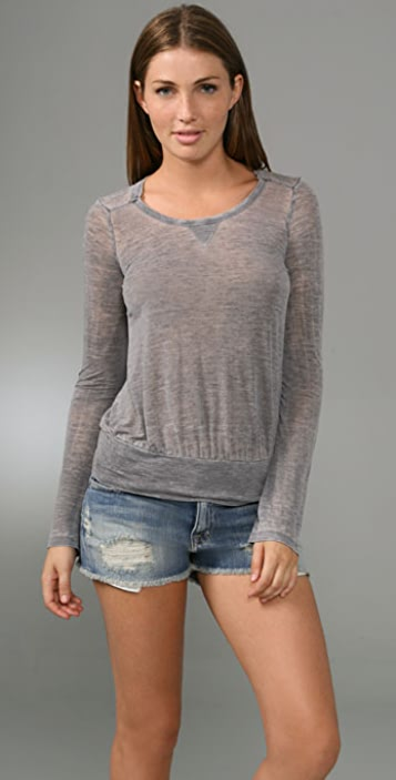 Splendid Distressed Jersey Raglan Top