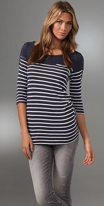 Splendid Navy Breton Stripe Top