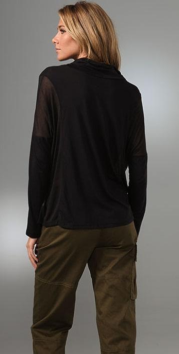 Splendid Sheer/Opaque Knits Cowl Neck Top