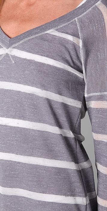 Splendid Loose Knit Stripe V Neck Top