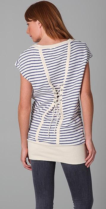Splendid Nautical Stripe Active Lace Back Tunic