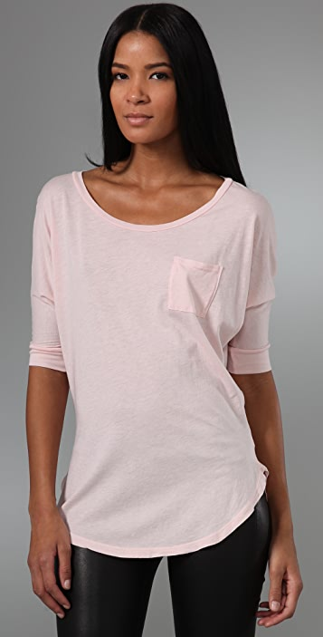 Splendid Very Light Jersey Wide Neck Tee