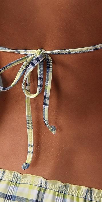 Splendid Parker Plaid Twist Bikini Top
