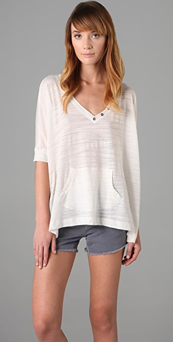 Splendid Loose Knit Button Top